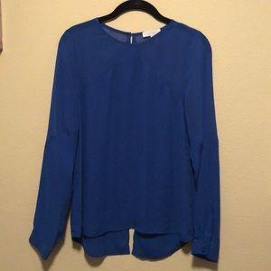 Royal Blue sheer sleeve blouse
